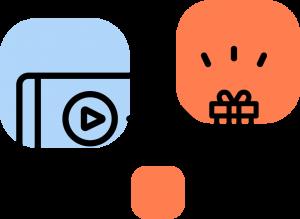Ícone da rede de vídeos em jogos da MUV.